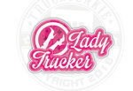 lady trucker sticker Truckjunkie Roze