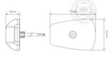 LED TOPLAMP / MARKERINGSLAMP - 9-32V -  HELDER GLAS _