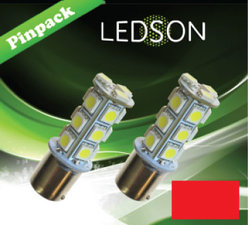 LED-LAMP ROOD 360 P21W 18SMD BA15s