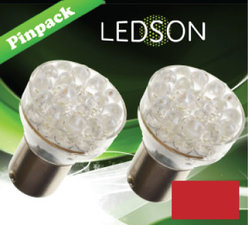 LED-LAMP ROOD - 24 DIODE  P21W  BA15s