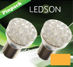 LED-LAMP ORANJE - 24 DIODE  P21W  BA15s
