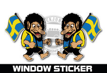 WINDOW STICKER TROLLS SWEDEN , ZWEEDSE TROLLEN RAAMSTICKERS